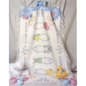 """29""""X45"""" 18 Count - Safety Pins Baby Afghan Counted Cross Stitch Kit"""