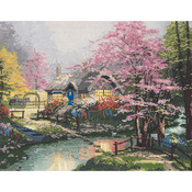 """14""""X11"""" 14 Count - Thomas Kinkade Stepping Stone Cottage Counted Cross Stitch K"""