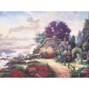 "12""X16"" Printed - Thomas Kinkade A New Day Dawning Embellished Cross Stitch Ki"