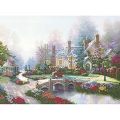 """12""""X16"""" Printed - Thomas Kinkade Beyond Spring Gate Embellished Cross Stitch K"""