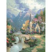 "12""X16"" Printed - Thomas Kinkade Mountain Chapel Embellished Cross Stitch Kit"