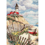 """5""""X7"""" 18 Count - Gold Petites Cliffside Beacon Counted Cross Stitch Kit"""