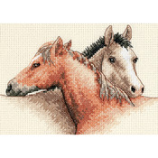 """7""""X5"""" 14 Count - Horse Pals Mini Counted Cross Stitch Kit"""