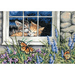 """7""""X5"""" 18 Count - Gold Petites Feline Love Counted Cross Stitch Kit"""
