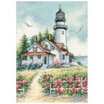 """5""""X7"""" 18 Count - Gold Petites Scenic Lighthouse Counted Cross Stitch Kit"""