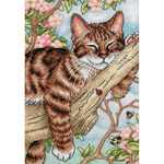 "5""X7"" 18 Count - Gold Petites Napping Kitten Counted Cross Stitch Kit"