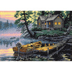 "7""X5"" 18 Count - Gold Petites Morning Lake Counted Cross Stitch Kit"