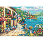 """7""""X5"""" 18 Count - Gold Petites Overlook Cafe Counted Cross Stitch Kit"""