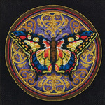 "6""X6"" 18 Count - Gold Petites Ornate Butterfly Counted Cross Stitch Kit"