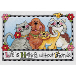 "7""X5"" - Life Is Nothing Without Friends Mini Stamped Cross Stitch Ki"