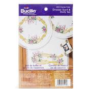 """Garden Trellis Stamped Cross Stitch Dresser Scarf & Doilies - Dresser Scarf 14""""X"""