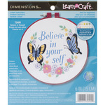 """Learn - A - Craft Believe In Yourself Crewel Embroidery Kit-6"""" Round Stitched In"""