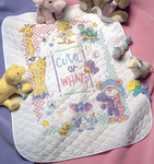 "34""X43"" - Baby Hugs Cute...Or What? Quilt Stamped Cross Stitch Kit"