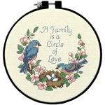 """Learn - A - Craft Family Love Counted Cross Stitch Kit-6"""" Round 14 Count"""