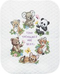 "34""X43"" - Baby Hugs Baby Animals Quilt Stamped Cross Stitch Kit"