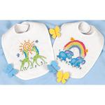 "9""X14"" Set Of 2 - Baby Hugs Noah's Ark Bibs Stamped Cross Stitch Kit"