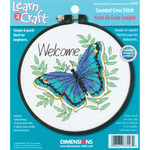 """Learn - A - Craft Welcome Butterfly Counted Cross Stitch Kit-6"""" Round 14 Count"""