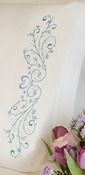 """20""""X30"""" - Filigree Scroll Pillowcase Pair Stamped Embroidery"""
