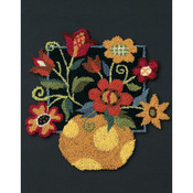 """8""""X10"""" - Floral On Black Punch Needle Kit"""