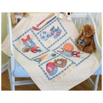 """34""""X43"""" - Baby Hugs Little Sports Quilt Stamped Cross Stitch Kit"""