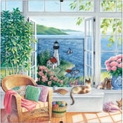 """8""""X8"""" 18 Count - Daydreams Beach Tranquility Counted Cross Stitch Kit"""