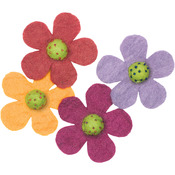 Crazy Daisies 4/Pkg - Feltworks Flowers