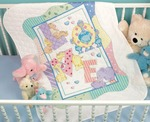 "34""X43"" - Baby Hugs Zoo Alphabet Quilt Stamped Cross Stitch Kit"