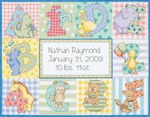 "12""X9"" 14 Count - Baby Hugs Zoo Alphabet Birth Record Counted Cross Stitch Kit"