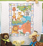 "34""X43"" - Baby Hugs Mod Zoo Quilt Stamped Cross Stitch Kit"