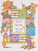 "9""X12"" 14 Count - Baby Hugs Baby Drawers Birth Record Counted Cross Stitch Kit"