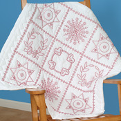 "Sampler - Stamped White Wall Or Lap Quilt 36""X36"""