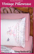 "Butterfly Lady - Stamped Lace Edge Pillowcase 30""X20"" 2/Pkg"