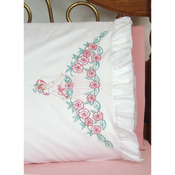 "Flower Lady - Stamped Lace Edge Pillowcase 30""X20"" 2/Pkg"