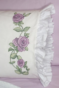 "Rose Vine - Stamped Lace Edge Pillowcase 30""X20"" 2/Pkg"