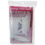 "Large Butterfly - Stamped Lace Edge Pillowcase 30""X20"" 2/Pkg"