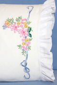 "Ribbon & Flowers - Stamped Lace Edge Pillowcase 30""X20"" 2/Pkg"