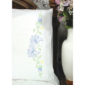 "Lilies On Vine - Stamped Perle Edge Pillowcase 30""X20"" 2/Pkg"