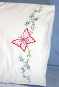 "Red Butterfly - Stamped Perle Edge Pillowcase 30""X20"" 2/Pkg"
