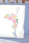 "Ribbon & Flowers - Stamped Perle Edge Pillowcase 30""X20"" 2/Pkg"