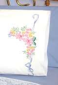 "Ribbon & Flowers - Stamped Perle Edge Pillowcase 30""X20"" 2/Pkg"