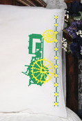"Green Tractor - Stamped Perle Edge Pillowcase 30""X20"" 2/Pkg"