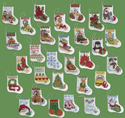 "More Tiny Stockings Ornaments Counted Cross Stitch Kit-2-1/2""X3"" 14 Count Set Of"