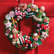 "15"" Round - Cookies & Candy Wreath Felt Applique Kit"