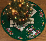 "43"" Round - Candy Snowman Tree Skirt Felt Applique Kit"