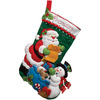 18  Long - Santa's List Stocking Felt Applique Kit BUCILLA-Felt Applique Kit. This set offers a great holiday design that will make your house look great when you have guests over. This package contains stamped felts, cotton floss, metallic thread, color separated sequins and beads, needles, instructions and directions for personalization. Design size: 18 inches. Design: Santa's List Stocking. Made in USA.