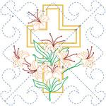"Cross & Lilies - Stamped Quilt Blocks 18""X18"" 6/Pkg"