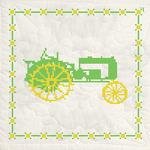 "Green Tractor - Stamped Quilt Blocks 18""X18"" 6/Pkg"