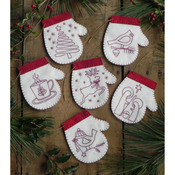 Redwork Mittens Ornament Kit