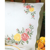 """Rose Classic - Stamped Pillowcase Pair 20""""X30"""" For Embroidery"""