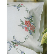 "Wild Rose - Stamped Pillowcase Pair 20""X30"" For Embroidery"